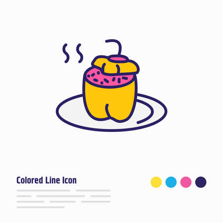Vector illustration of food icon colored line. Beautiful culinary element also can be used as bulgarian stuffed peppers icon element. Illustration