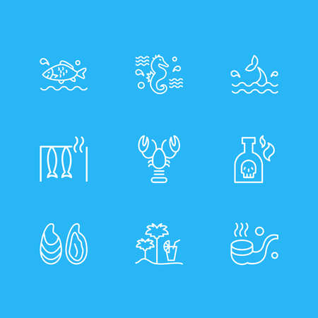 Vector illustration of 9 maritime icons line style. Editable set of smoking pipe, lobster, smoked fish and other icon elements. 向量圖像