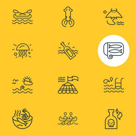 Vector illustration of 12 marine icons line style. Editable set of bamboo raft, stingray, people rafting and other icon elements.