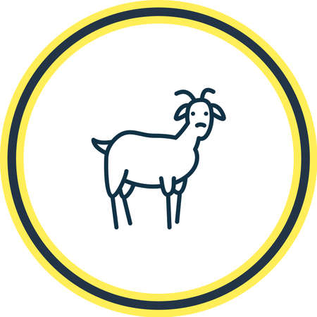 Vector illustration of goat icon line. Beautiful animals element also can be used as ungulate icon element.