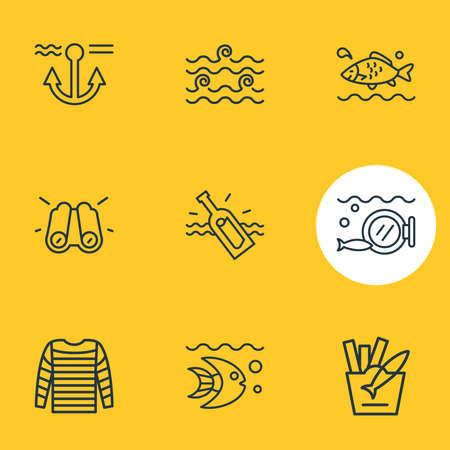 Vector illustration of 9 marine icons line style. Editable set of stripped vest, aquatic, binoculars and other icon elements. Ilustração