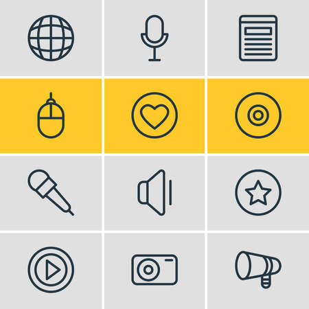 illustration of 12 music icons line style. Editable set of video, bullhorn, mike and other icon elements. Фото со стока