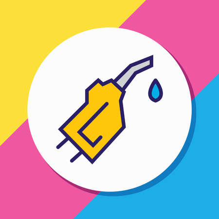 Vector illustration of gasoline pipe icon colored line. Beautiful transport element also can be used as pump nozzle icon element.