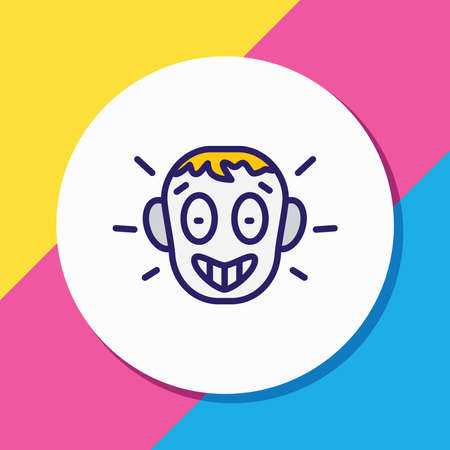 Vector illustration of amazed icon colored line. Beautiful emoticon element also can be used as surprised icon element.