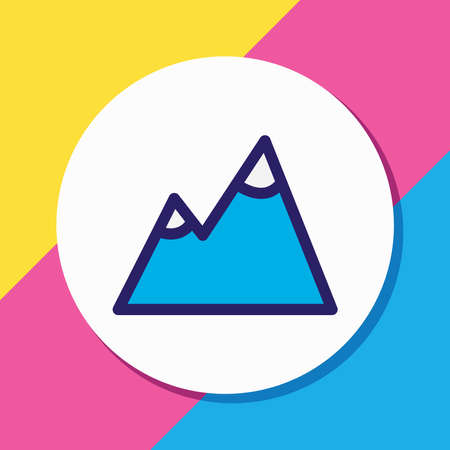 Vector illustration of mountain icon colored line. Beautiful tourism element also can be used as peak icon element.