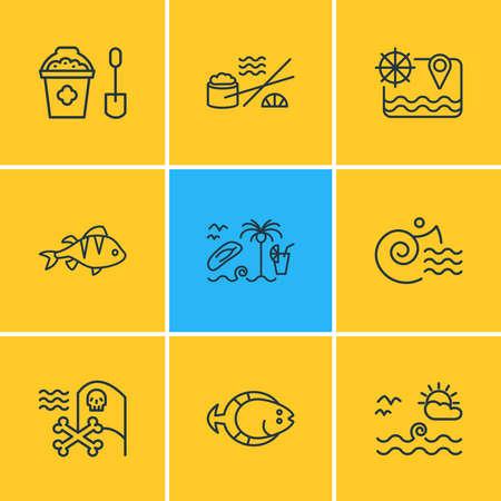 Vector illustration of 9 marine icons line style. Editable set of flatfish, sushi, pirate flag and other icon elements. Çizim