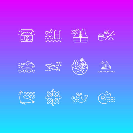 Vector illustration of 12 maritime icons line style. Editable set of cod fish, treasure chest, ship rudder and other icon elements. Çizim