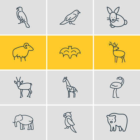 Vector illustration of 12 zoo icons line style. Editable set of ovis, raven, elephant and other icon elements. Illustration