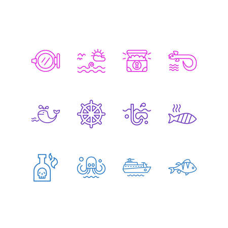 Vector illustration of 12 naval icons line style. Editable set of bottle of rum, sea landscape, grilled fish icon elements.