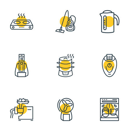 Vector illustration of 9 appliance icons line style. Editable set of electric kettle, electric steamer, home electric phone and other icon elements.