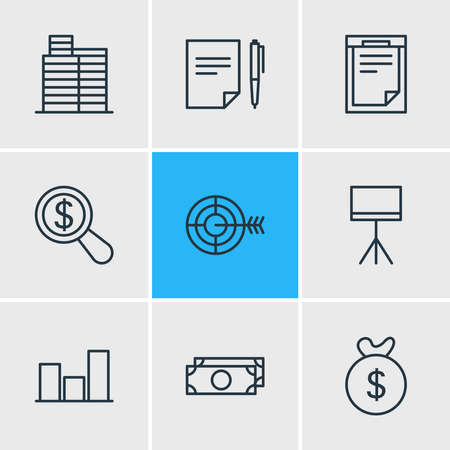 Vector illustration of 9 trade icons line style. Editable set of research, moneybox, presentation and other icon elements.