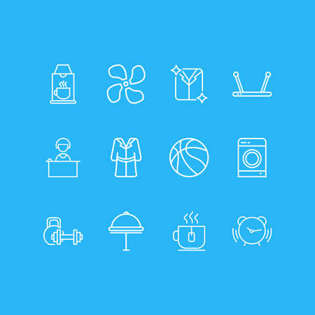 Vector illustration of 12 hotel icons line style. Editable set of tea cup, basketball, hotel delivery and other icon elements. Ilustrace