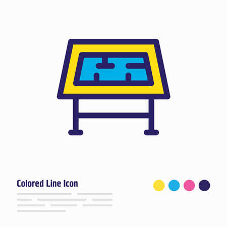 Vector illustration of drawing table icon colored line. Beautiful construction element also can be used as engineering icon element.