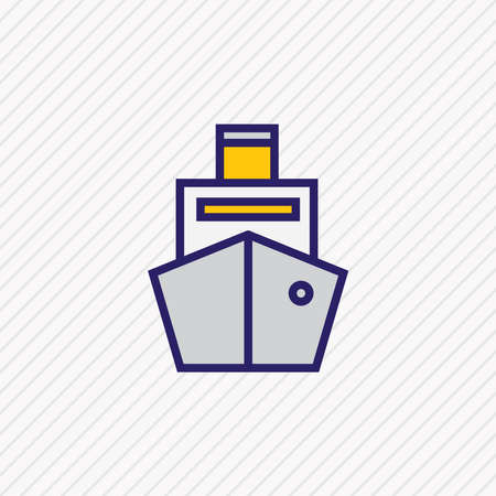 illustration of cargo ship icon colored line. Beautiful transportation element also can be used as cruise icon element. Stockfoto