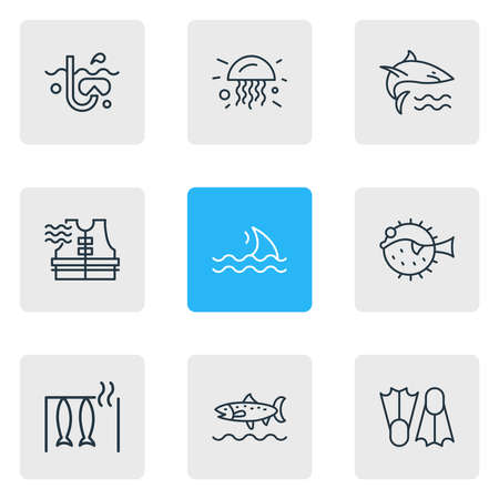 illustration of 9 nautical icons line style. Editable set of trout fish, flippers, fin and other icon elements. Stockfoto