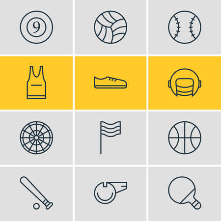 Vector illustration of 12 fitness icons line style. Editable set of billiards, whistle, uniform and other icon elements. Illustration
