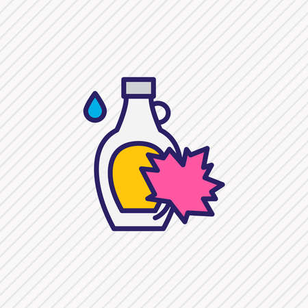 illustration of canadian maple syrup icon colored line. Beautiful world cuisine element also can be used as bottle icon element. Фото со стока - 147430639