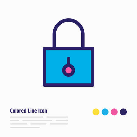 illustration of padlock icon colored line. Beautiful application element also can be used as closed icon element.