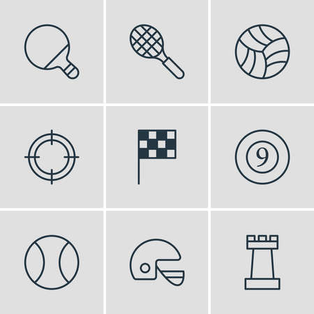 Vector illustration of 9 sport icons line style. Editable set of ping, billiards, tennis and other icon elements. Vectores