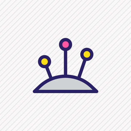 Vector illustration of pins icon colored line. Beautiful entertainment element also can be used as pincushion icon element.