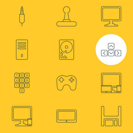 illustration of 12 computer icons line style. Editable set of devices, game controller, system unit and other icon elements.