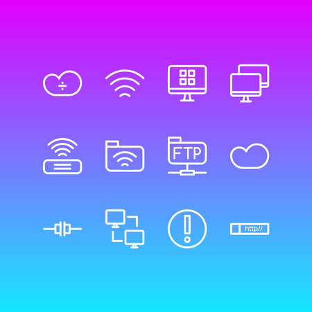 illustration of 12 network icons line style. Editable set of web address, modem, wifi and other icon elements.