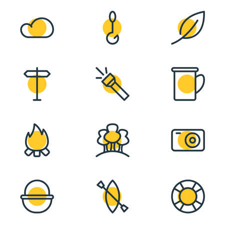 Vector illustration of 12 camp icons line style. Editable set of leaf, forest, lifebuoy and other icon elements.