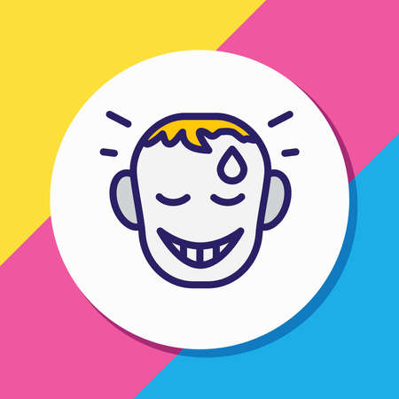 Vector illustration of relieved icon colored line. Beautiful emoji element also can be used as happy icon element.