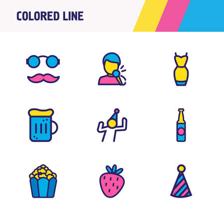 Vector illustration of 9 celebration icons colored line. Editable set of beer mug, beer bottle, clown cap and other icon elements.