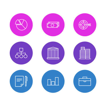 illustration of 9 business icons line style. Editable set of target, briefcase, structure and other icon elements.