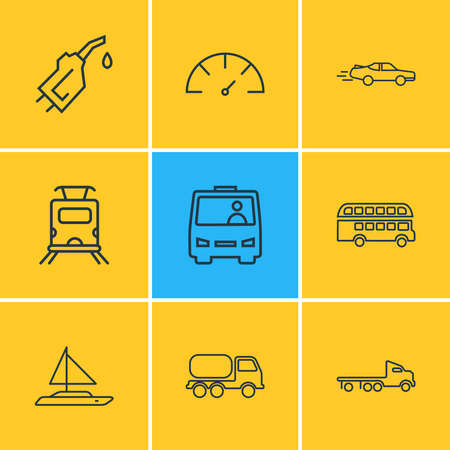 Vector illustration of 9 transportation icons line style. Editable set of sport car, double decker bus, speedometer and other icon elements.