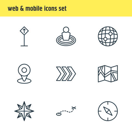 Vector illustration of 9 location icons line style. Editable set of globe, read sign, check-in and other icon elements.