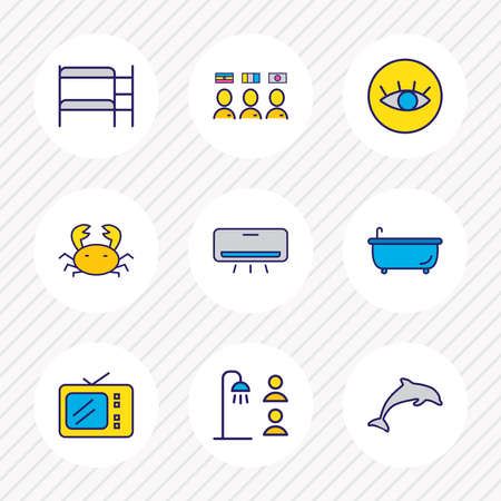 illustration of 9 tourism icons colored line. Editable set of tv, double decker bed, crab and other icon elements.
