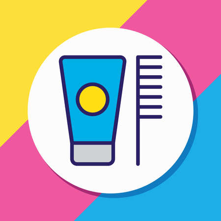 Vector illustration of toothbrush icon colored line. Beautiful hotel element also can be used as toothpaste icon element.