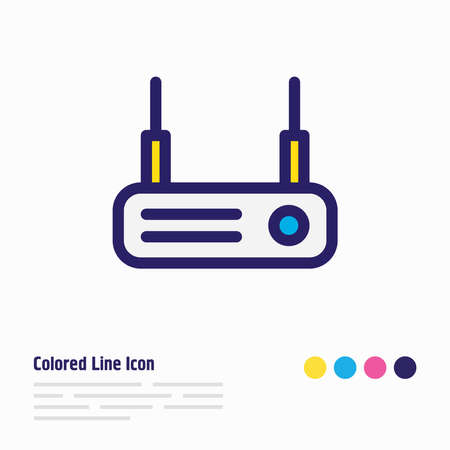 Vector illustration of router icon colored line. Beautiful internet element also can be used as modem icon element.