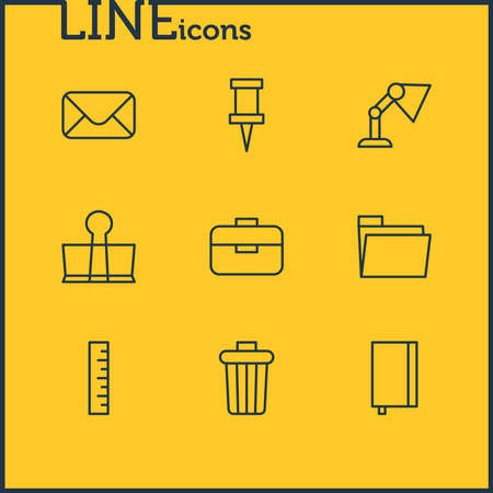 illustration of 9 instruments icons line style. Editable set of notebook, trash bin, envelope and other icon elements.
