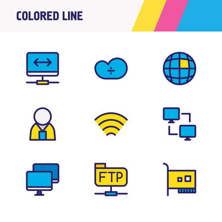illustration of 9 web icons colored line. Editable set of network administrator, internet, network card and other icon elements.