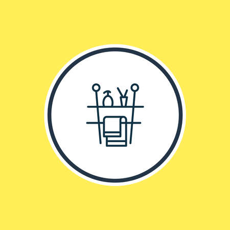 Vector illustration of bathroom shelf icon line. Beautiful bathroom element also can be used as furniture icon element.  イラスト・ベクター素材