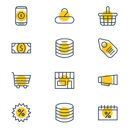 Vector illustration of 12 wholesale icons line style. Editable set of money, sales day, coins and other icon elements.