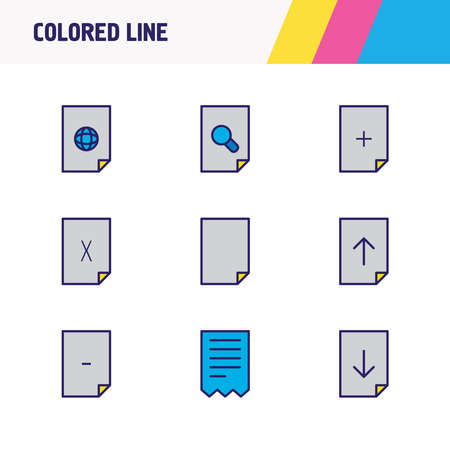Vector illustration of 9 document icons colored line. Editable set of delete file, magnifying, remove file and other icon elements.