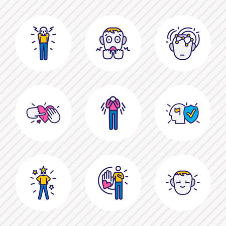 Vector illustration of 9 emoji icons colored line. Editable set of intelligence, tenderness, trust and other icon elements. 일러스트