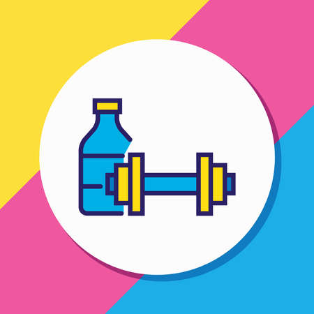 Vector illustration of fitness room icon colored line. Beautiful vacation element also can be used as gym icon element.