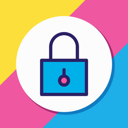 Vector illustration of padlock icon colored line. Beautiful app element also can be used as closed icon element.