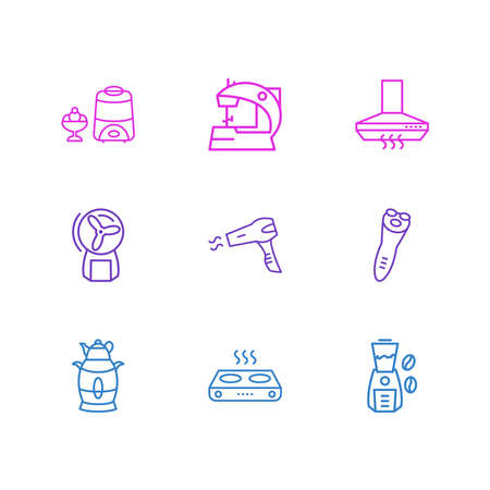 illustration of 9 electric utility icons line style. Editable set of kitchen hood, electric samovar, electric razor and other icon elements. 스톡 콘텐츠