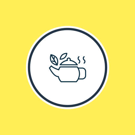 illustration of tea in pot icon line. Beautiful beverages element also can be used as teapot icon element. 스톡 콘텐츠