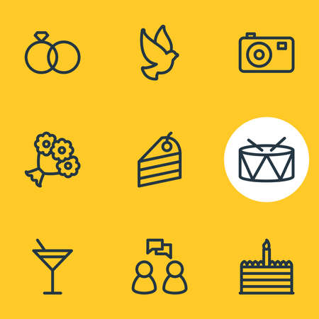 illustration of 9 party icons line style. Editable set of wedding, dessert, drums and other icon elements.