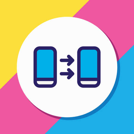 illustration of transfer icon colored line. Beautiful smartphone element also can be used as sending icon element. 스톡 콘텐츠