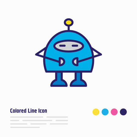 illustration of robots icon colored line. Beautiful hobby element also can be used as chatbot icon element.