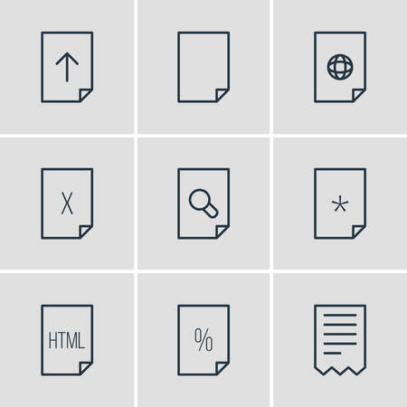 illustration of 9 paper icons line style. Editable set of upload, contract, corrupted and other icon elements.