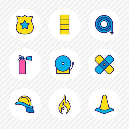 illustration of 9 extra icons colored line. Editable set of hose, helmet, plaster and other icon elements.